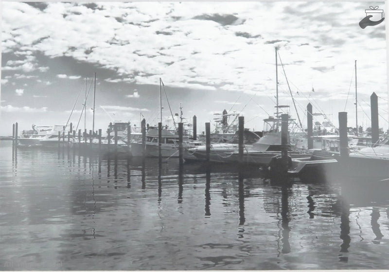 Black & White Boating Reflections Matted Photography Art