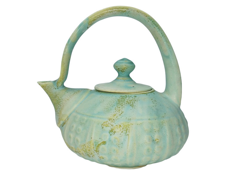 Carved Teapot & Bowl Set - Pale Blue