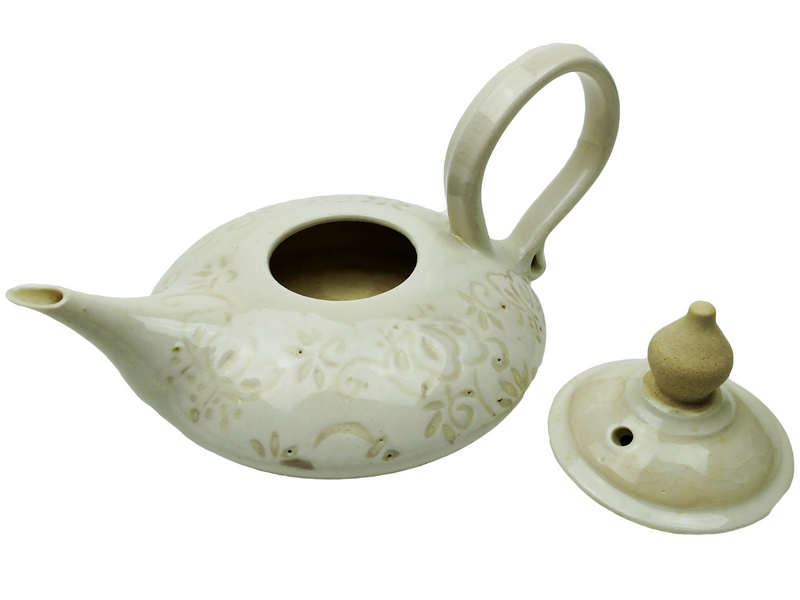 Carved Teapot - Cream