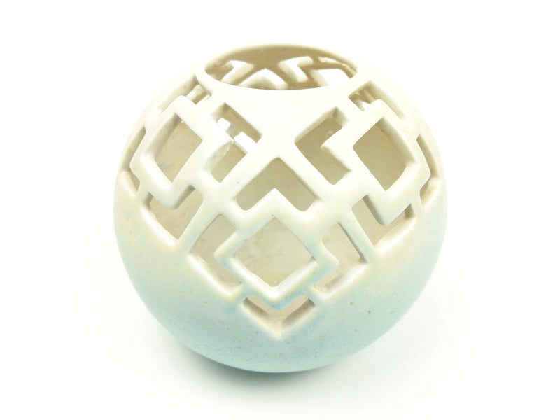 Carved Turquoise/White Bowl with Square Motif Cut-Out