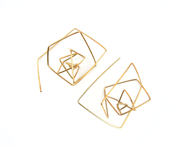 Geo Pull Thru Earrings - 14k Gold Fill
