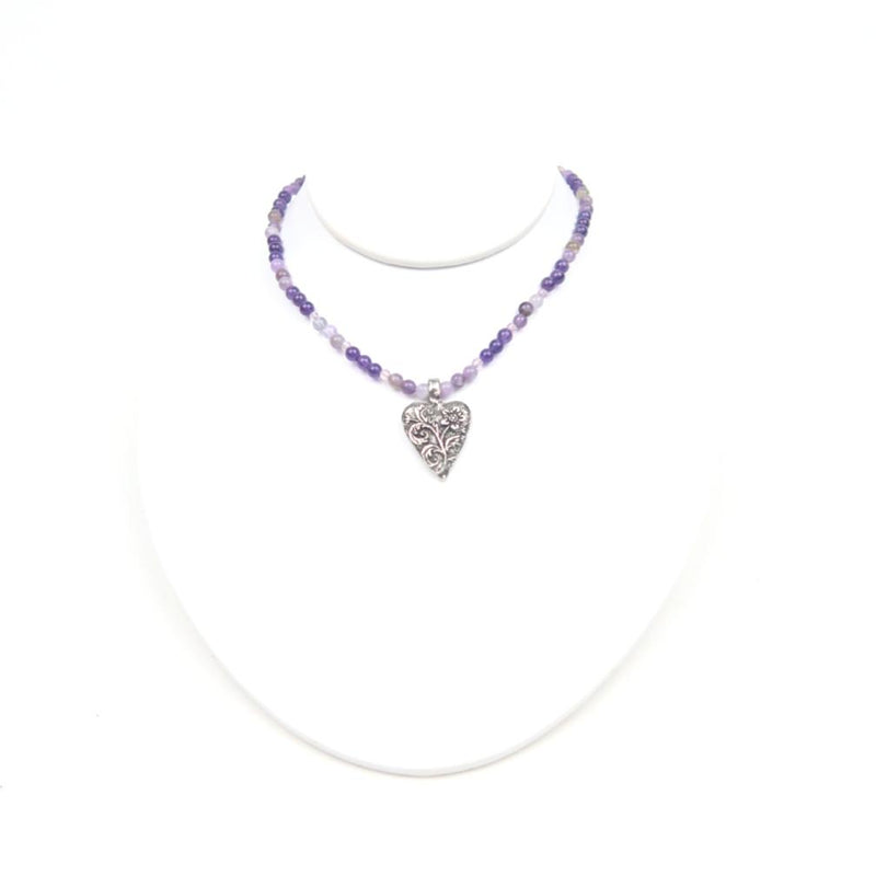 Pewter Heart Amethyst & Amethyst Chevron With Crystal Necklace
