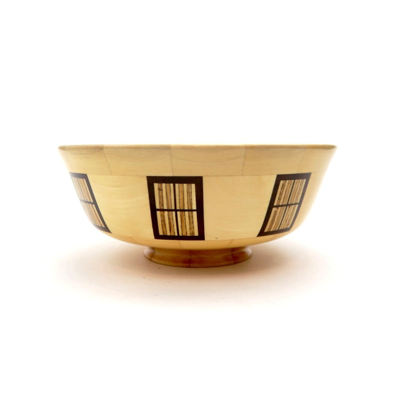 Wooden Bowl with Birch Windows #221