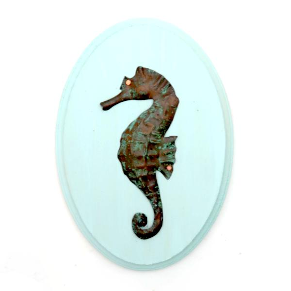 Wooden Sign with Copper Seahorse - oval 7.5x9.5