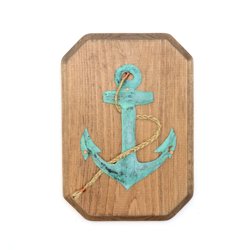 Wooden Sign with Copper Anchor - 7x9.5