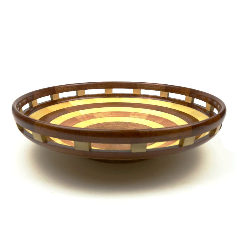 Wooden Bowl with Cut out Rectangles 2018 #165
