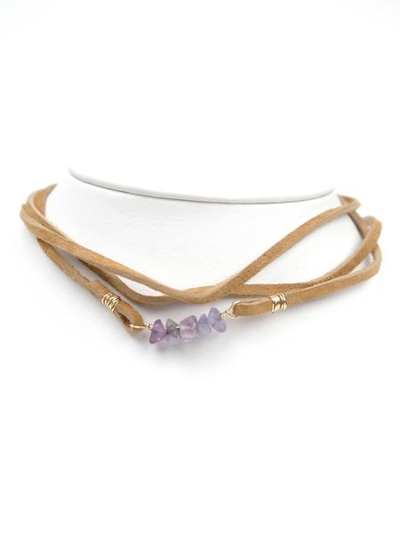 Tan Leather Crystal Wrap Choker