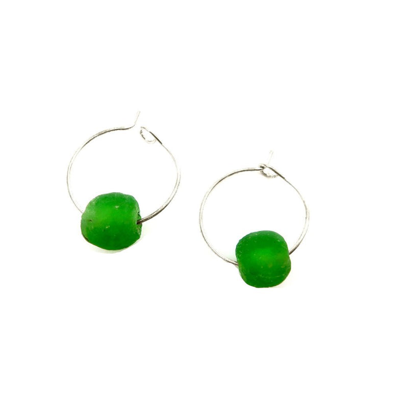African Up-cycled Single Bead Hoop Earrings