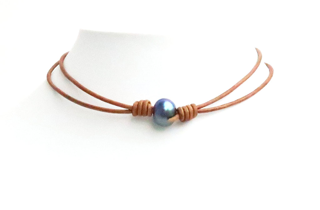 Peacock Pearl Choker Brown Leather