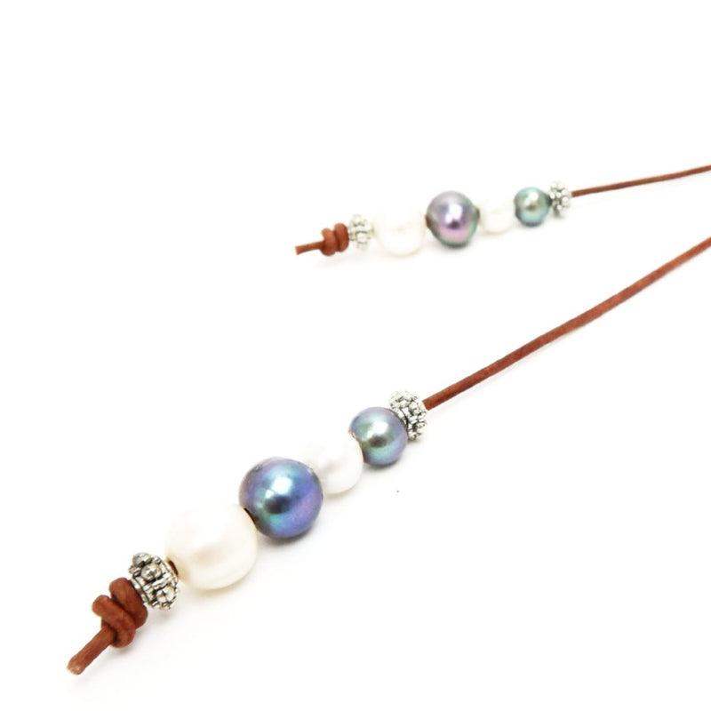 Peacock & White Freshwater Pearl Lariat with Brown Leather