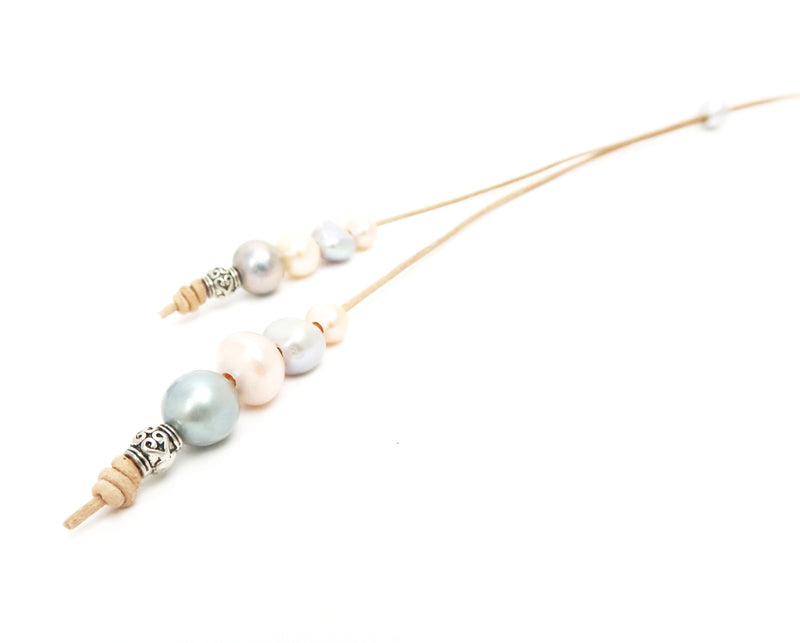 Multi Freshwater Pearl Lariat with Tan Leather
