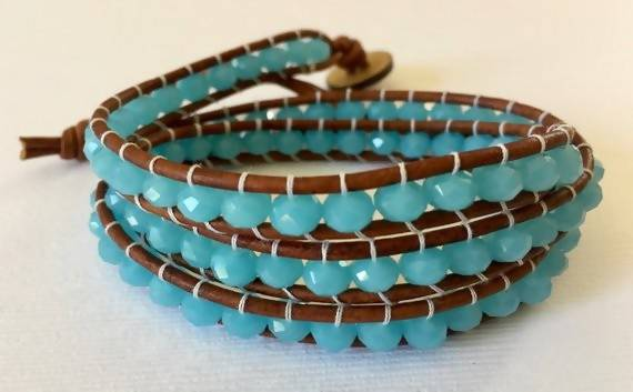Cerulean Crystal - Light Brown Leather 3 Wrap Bracelet