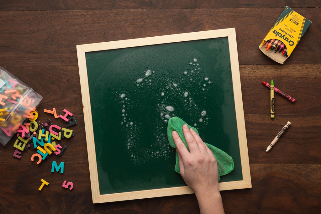 How to clean crayon on chalkboard