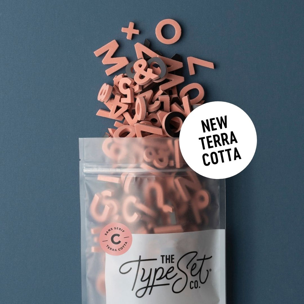 New Terra Cotta Alphabet Magnets from The Type Set Co.