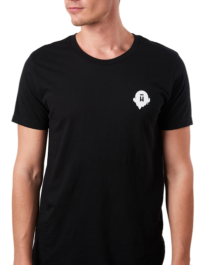 Black unisex shirt with small white Halo Top logo on the right chest