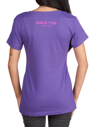 Halo Top Scoop Shops text on the back of the purple scoop dreams shirt
