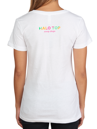 Halo Top Scoop Shops text on the back of the white scoop dreams shirt