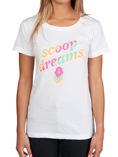 White women's shirt with rainbow scoop dreams text