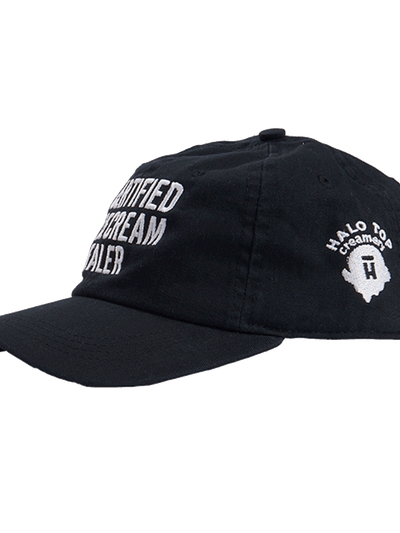 Side view of the black certified ice cream dealer hat with white Halo Top logo