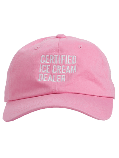 Light pink hat with certified ice cream dealer text in white