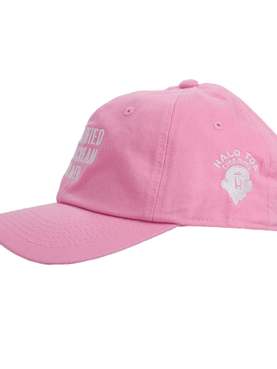 Side view of the light pink certified ice cream dealer hat with white Halo Top logo