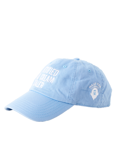 Side view of the light blue certified ice cream dealer hat with white Halo Top logo