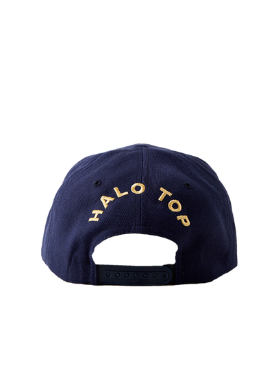Back of navy snapback with Halo Top text in gold