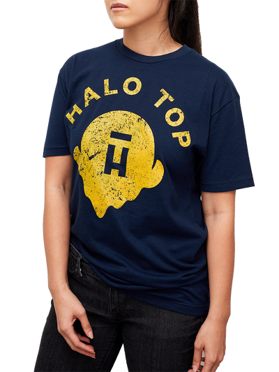 Navy unisex shirt on a female model with Halo Top logo in gold