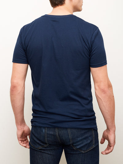 Back of navy unisex shirt