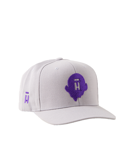 Grey snapback with purple Halo Top logo