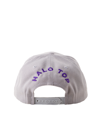 Back of grey snapback with Halo Top text in purple