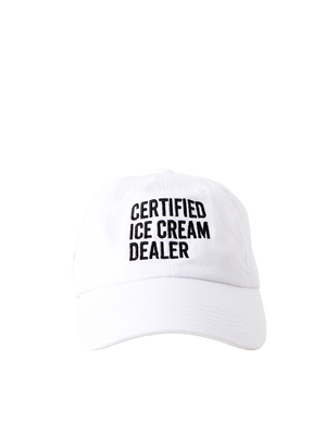White hat with certified ice cream dealer text in black