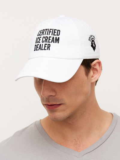White certified ice cream dealer hat on a male model