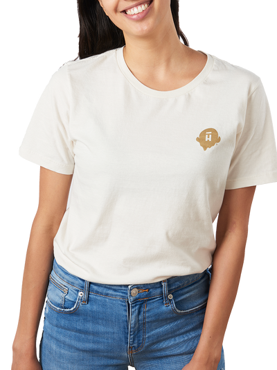 Cream unisex shirt with small gold Halo Top logo on the right chest