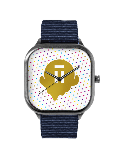 Polka dot with gold Halo Top logo watch on a navy strap