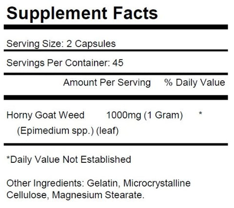 1 Bottle Horny Goat Weed 1000mg Per Serving 90 Capsules KRK Supplements