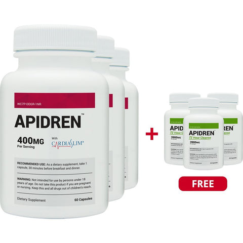 Apidren 3 Pack & 3 Free 72 Cleanse Combo - Best Diet Pill for Healthy Weight...