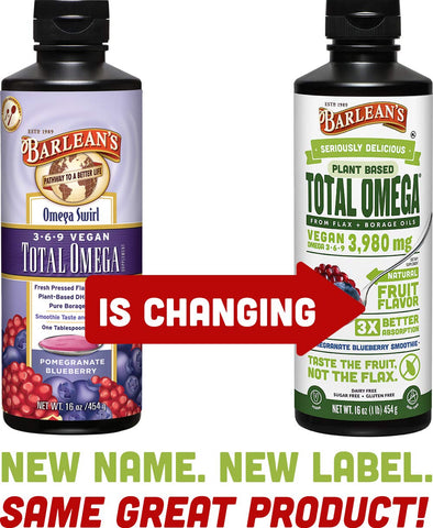 Barlean's Seriously Delicious Total Omega Vegan, Pomegranate Blueberry...
