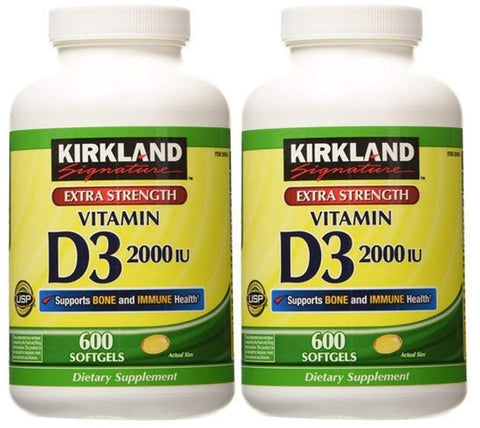 2 Pack of Kirkland Maximum Strength Vitamin D3 600 Softgels - 1200 Total...
