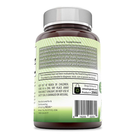 Amazing India Organic Tribulus- 630 mg, 120 Vcaps-Raw, Vegan- Gluten-Free,...