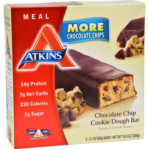 2Pack! Atkins Advantage Bar Chocolate Chip Cookie Dough - 5 Bars