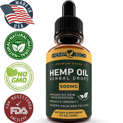 Full Spectrum Hemp Oil for Pain, Anxiety & Stress Relief - 500mg of Pure...