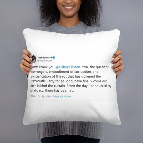 Tulsi Gabbard Roast Hillary Clinton Tweet Basic Pillow