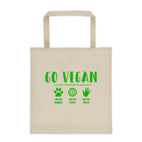 GO VEGAN - Durable Canvas Tote bag