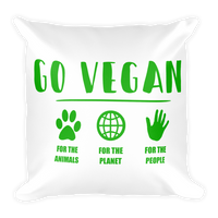 GO VEGAN - Soft Washable Square Pillow