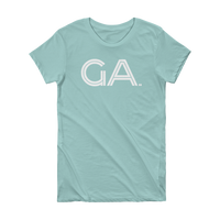 GA- State of Georgia Abbreviation Short Sleeve Women's T-shirt