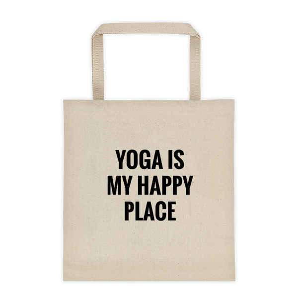 YOGA Is My Happy Place - Durable Canvas Tote bag
