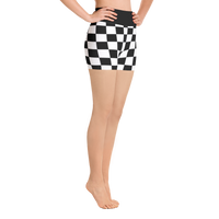 Checkered Flag All Over Print Yoga Fitness Shorts