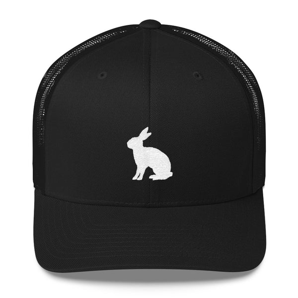 White Rabbit Embroidered Snapback Trucker Cap