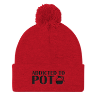 Addicted To POT -- Funny Coffee Pot Pom Pom Knit Cap